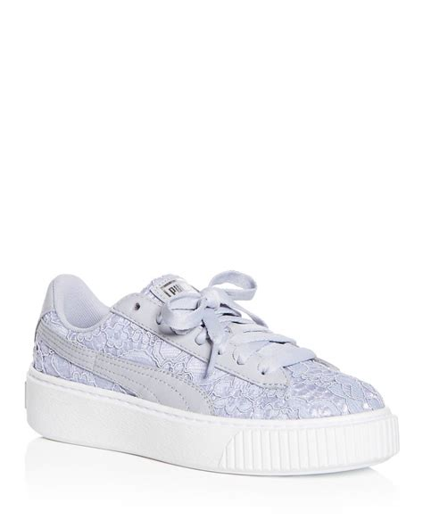 Puma Women Baskey Classice Floral Lace Up Platform Sneakers