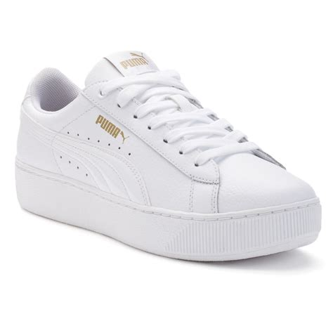 Puma Women's Vikky Platform Leather Sneaker White