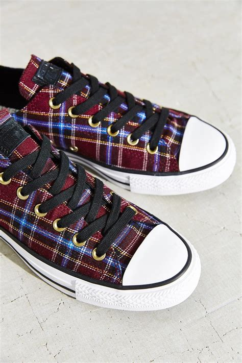 Purple Plaid Converse Sneakers