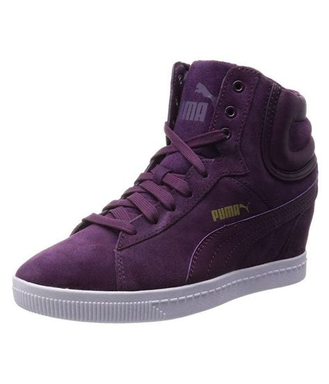 Purple Puma Wedge Sneakers