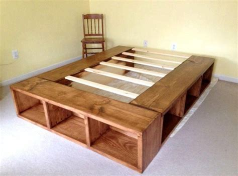 Queen Bed Frame With Storage Diy For Cubbies
