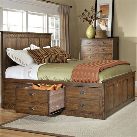 Queen Bed With Drawers In Oak