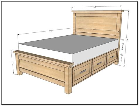Queen Size Bed Frame Plans With Drawers