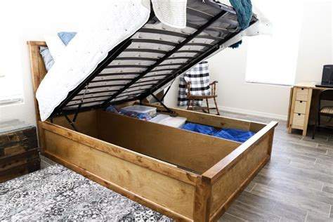 Queen Storage Bed Frame Diy Hindge