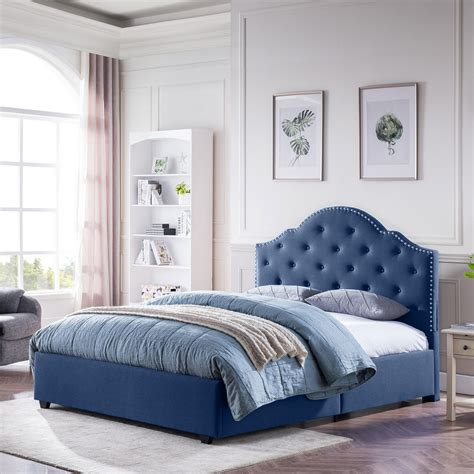 Quotes Navy Blue Tufted Bed