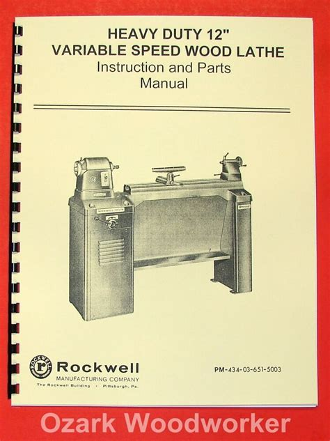 Rockwell 12 New Style Variable Wood Lathe Manual 0591 .