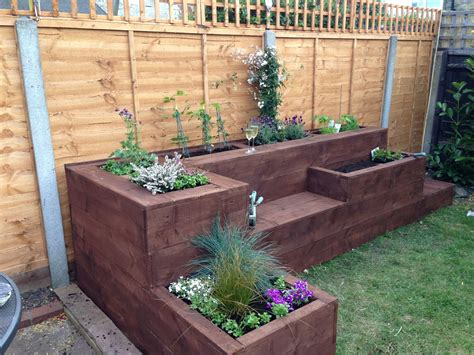 Raised Flower Beds Designs Wood With Seating