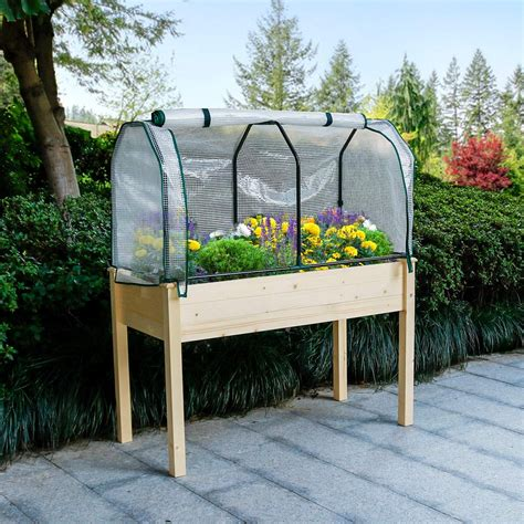 Raised Garden Box Planter With Cover