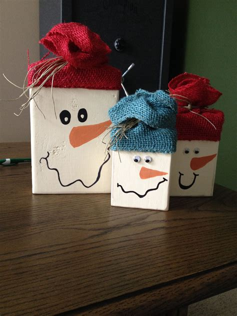 Raw Wood Snowman Craft Diy Crafts