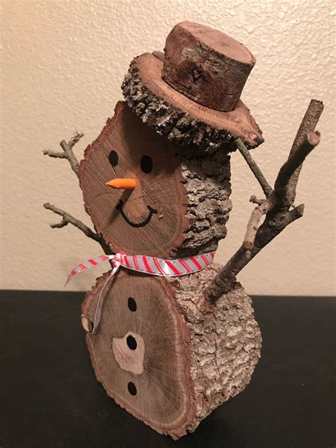 Raw Wood Snowman Craft Diy Sites