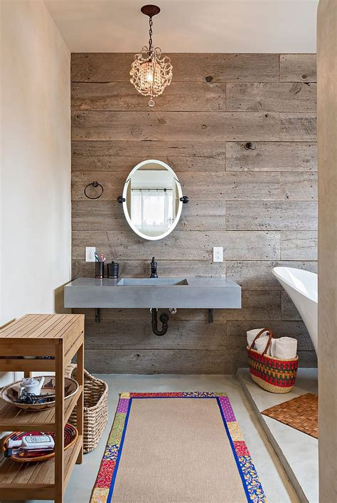Reclaimed Wood Feature Wall In Bathroom