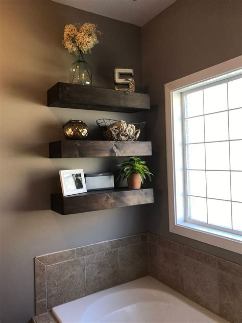 Reclaimed Wood Shelves Floating Diy Bathroom