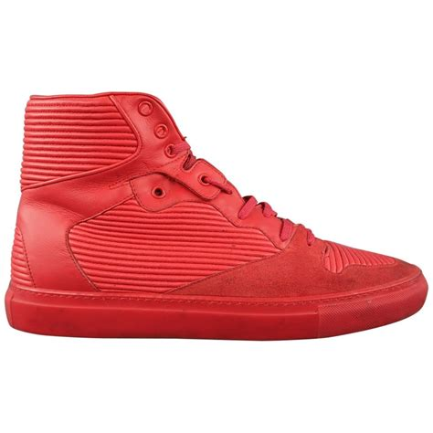 Red And Yellow Balenciaga High Top Sneakers