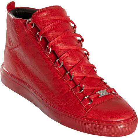 Red Balenciaga Arena High Top Sneakers