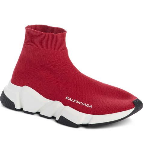 Red Balenciaga Knit Sneakers