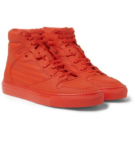 Red Balenciaga Sneakers Pleated
