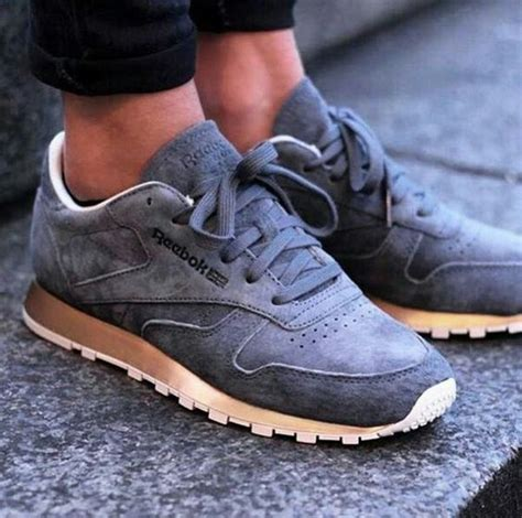 Reebok Classic Grey Suede Sneaker With Gold Sole