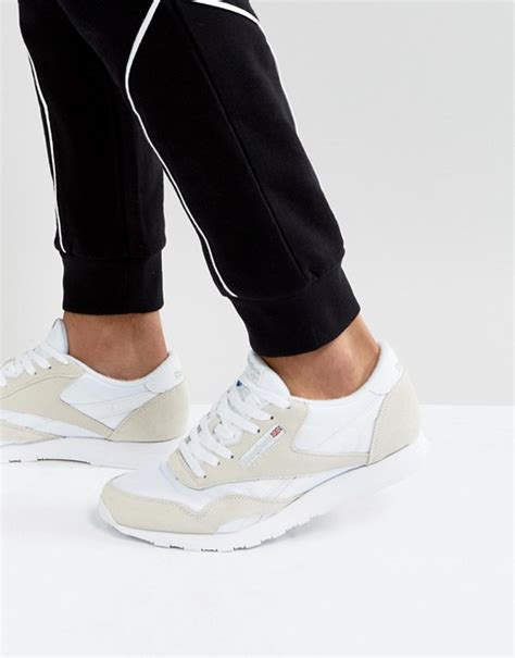 Reebok Classic Leather Nylon Sneakers In White 6390