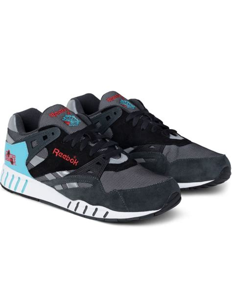 Reebok Gravel Black Neon Blue Poppy Red White Sole-trainer Sneakers