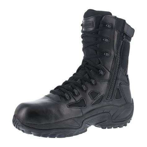 Reebok Mens Black Leather Tactical Boots Rapid Response RB Comp Toe