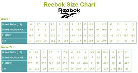 Reebok Sneakers Size Guide