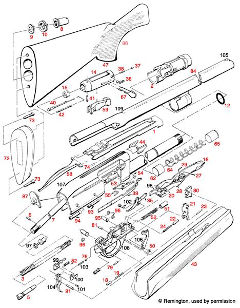Remington  11-87 Super Mag Schematic - Brownells Ireland.