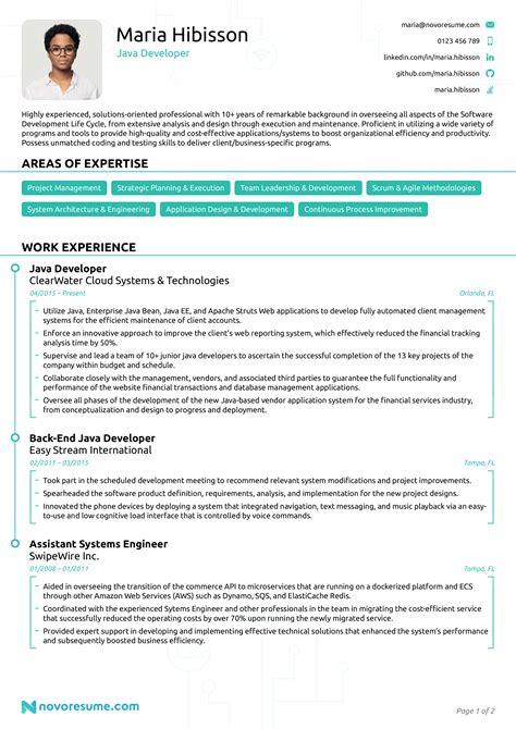 Resume Samples For Experienced Java Developer | Cover Letter ...
