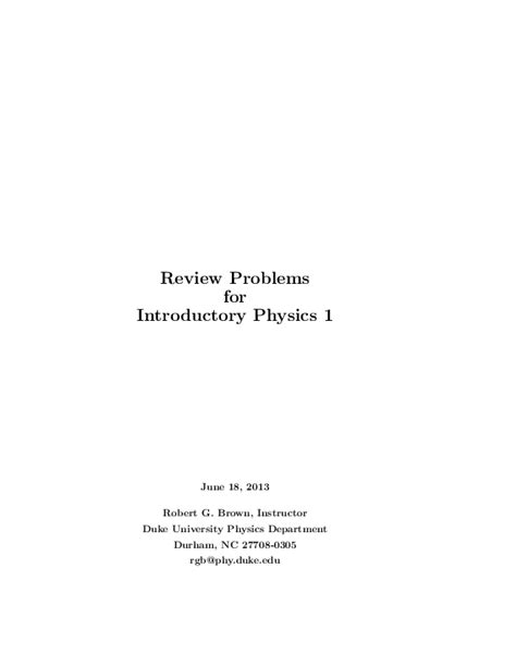[pdf] Review Problems For Introductory Physics 1 - Duke University.