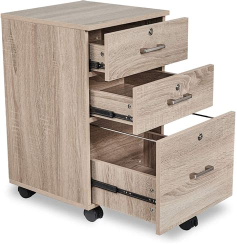 Rolling Wood File Cabinet