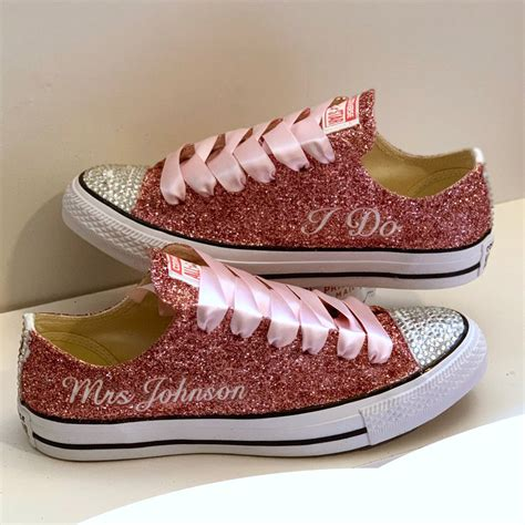 Rose Pink Sparkly Converse Sneakers