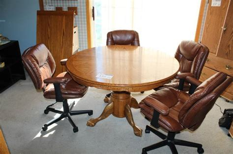 Round Dining Table With Rolling Chairs