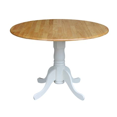 Round Drop Leaf Table White