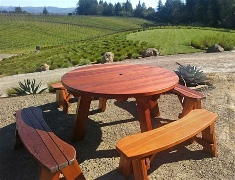 Round Picnic Table Plans Detached Benches