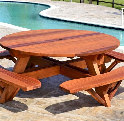 Round Picnic Table Plans With Attached Benches For Sale