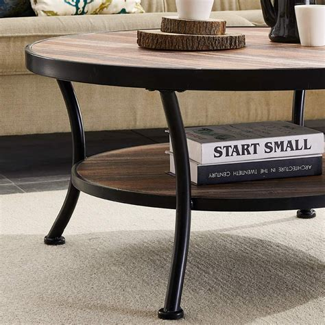 Round-Coffee-Table-Farmhouse-Industrial