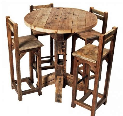 Rustic Pub Table With Stools