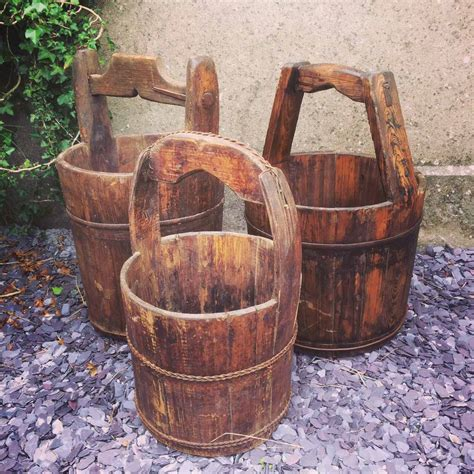 Rustic Wood Buckets For Sale