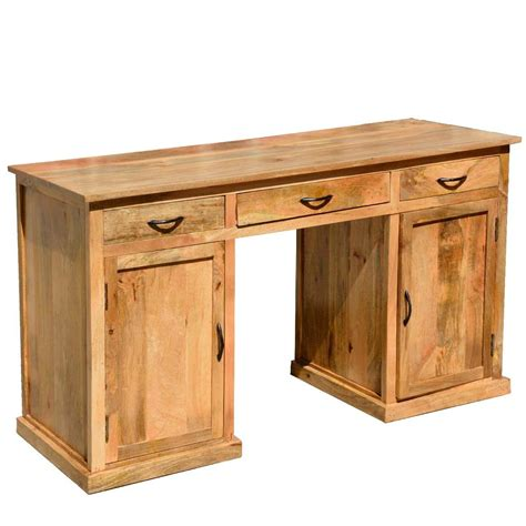Rustic Wood Desk With Drawers