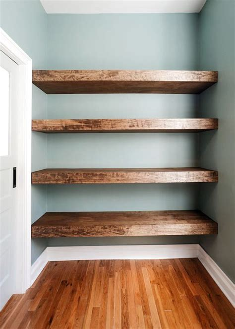 Rustic Wood Floating Shelves Diy Attaching