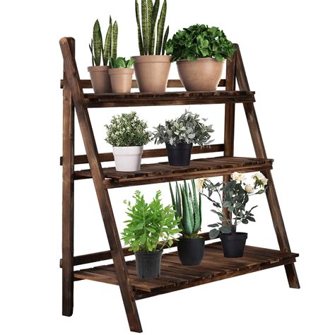 Rustic Wood Tiered Plant Stand