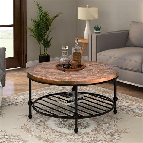 Rustic-Round-Farmhouse-Coffee-Table