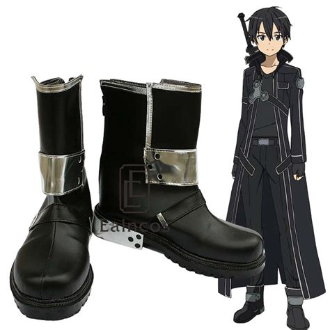 SAO Sword Art Online Anime Kirigaya Kazuto Kirito Cosplay Shoes Black Boots Custom Made