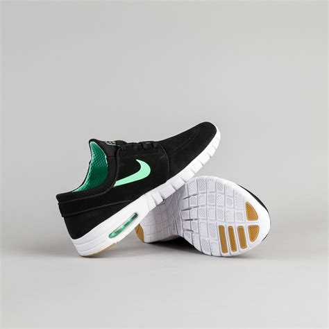 SB Zoom Stefan Janoski Max Suede Black/Green/Glow White/Gum/Light Brown Skate Shoes