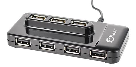 SIIG JU-H00012-S1 USB 2.0 High Speed 10 Port Portable Hub (Black) With Top Loading Ports 5 ft. Long Cable for Mac Windows Desktop Laptop