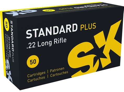 Sk Standard Plus 22 Long Rifle Ammo 40 Grain Lead Round Nose.