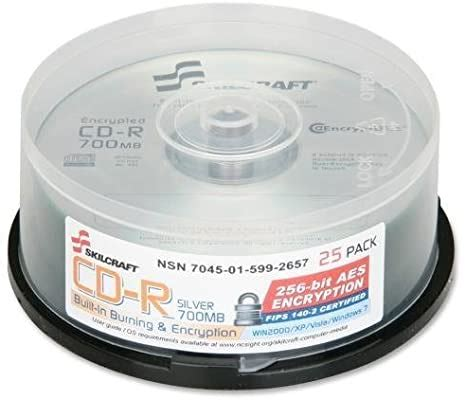 SKILCRAFT CD Recordable Media - CD-R - 52x - 700 MB - 25 Pack Spindle - 120mm1.33 Hour Maximum Recording Time