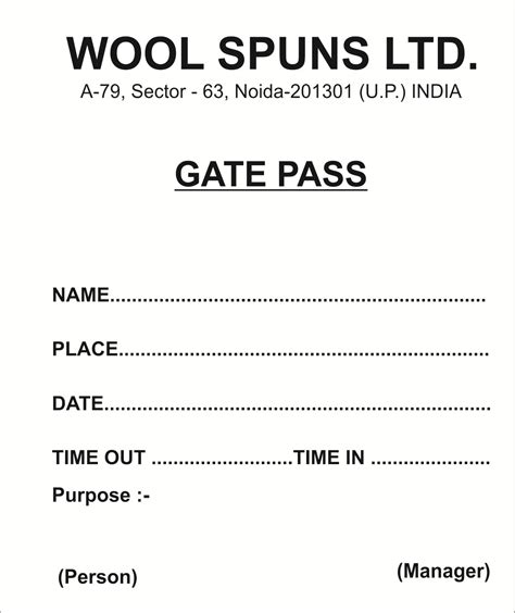Sample Gate Pass Form For Material