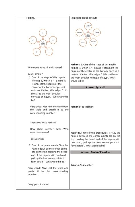 Sample Lesson Plan In Tle Table Napkin Folding