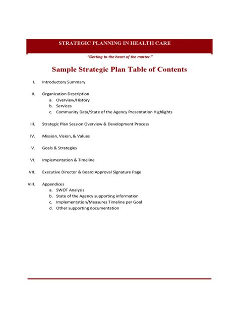 Sample Strategic Plan Table Of Contents