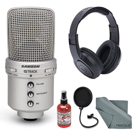 Samson G-Track USB Recording Microphone Bundle with Headphones+Pop Filter+Stand+Sanitizer+ FiberTique Cleaning Cloth